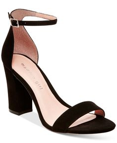For your elegant evening out, Madden Girl's Bella dress sandals temper a delicate ankle strap with a bold block heel in posh style.   Manmade upper; manmade sole   Imported   Round-toe ankle-strap dre