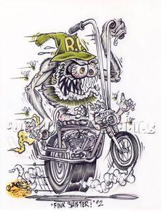 Johnny Ace Original Art Rat FINK Monster ED Big Daddy ROTH CHOPPER Harley BIKE! #JohnnyAceStudios