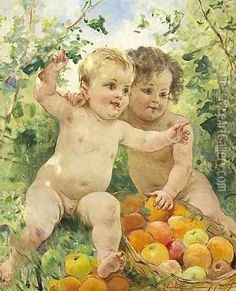 Two children with a fruit basket Oil Painting - Federico Andreotti  niceartgallery.com