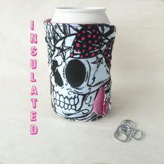 Skull koozie Tattoo pattern bottle cozy by DeegeeMarieGifts
