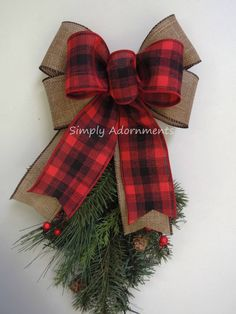 Best 12 Red Buffalo check plaid Layered with chocolate edged Burlap look ribbon wide bow Tree Topper wedding pew or large – SkillOfKing. Burlap Christmas, Christmas Ornament Sets, Etsy Christmas, Plaid Christmas, Christmas Tree Toppers, Winter Christmas, Christmas Holidays, Christmas Wreaths, Christmas Decorations