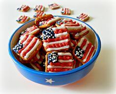 Patriotic Flag Pretzel Snacks