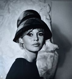 Brigitte Bardot in hat by Jean Barthet who also took this photo, 1961