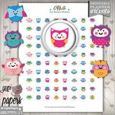 Owl Stickers, Owl Icon, Scrapbooking, Printable Planner Stickers, Erin Condren, Kawaii Stickers, Planner Accessories, Cute Stickers