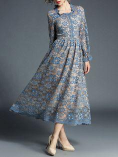 Scallop Trim Button Front Lace Dress -SheIn(Sheinside)