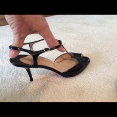 Black Patent Leather sandals Christian Louboutin t strap sandals. Christian Louboutin Shoes Sandals