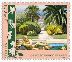 """Francobolli della serie tematica """"Parchi, giardini ed orti botanici d'Italia"""" dedicato all'Orto Botanico di Roma."""