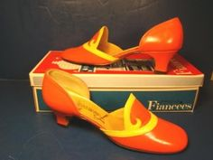 """Fiancees ladies shoes vintage orange and yellow or size 7 S classy classic pumps casual or dress heels. Box says """"Kara Lo Orng Yel 1960s Fashion, Vintage Fashion, Vintage Style, Vintage Shoes, Vintage Outfits, Orange Shoes, Orange Yellow, Orange Pumps, Classic Pumps"""