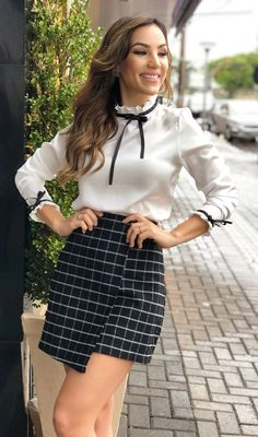 New Fashion, Womens Fashion, Preppy Style, Work Wear, Short Dresses, Cute Outfits, Mini Skirts, Black And White, Shorts