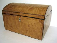 Early 19th Century Bird's Eye Maple Domed Large Storage Box Mother of Pearl