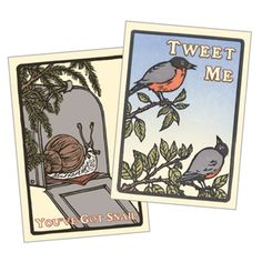 """You've Got Snail Cards (Set of 6)             If e-mail leaves you cold and Twitter gives you the jitters, you'll want to stock up on these wonderfully low-tech letterpress note cards! You've Got Snail humorously celebrates the patient joy of actual, handwritten correspondence; Tweet Me salutes nature's original prolific tweeters. The boxed sets, each of which contains six 5""""x7"""" cards with envelopes, also make fun gifts for technologically challenged friends."""