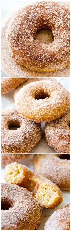These cinnamon-sugar bakery style donuts are baked not fried! They're so simple.