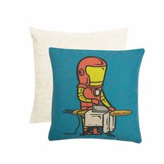 Part Time Iron Man Cushion Cover, Blue