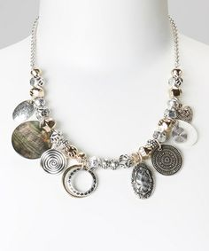 Another great find on #zulily! Silver & Gold Circle & Shell Bib Necklace #zulilyfinds