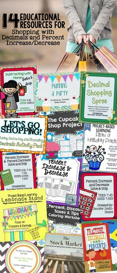 """Here's a round-up of math activities available online just for decimals and percent increase/decrease – but with a fun """"math in real life"""" twist – SHOPPING!"""