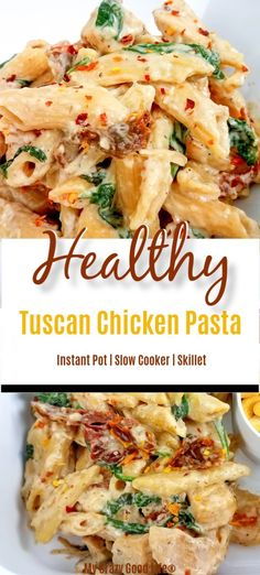 This creamy and healthy Tuscan Chicken Pasta will satisfy your craving without t.This creamy and healthy Tuscan Chicken Pasta will satisfy your craving without the calories! It's an easy healthy chicken recipe that your family Healthy Dinner Recipes For Weight Loss, Easy Healthy Dinners, Easy Healthy Recipes, Vegetarian Recipes, Healthy Dinner For One, Easy Healthy Pasta Recipes, Healthy Chicken Dinner, Healthy Pastas, Easy Healthy Casserole