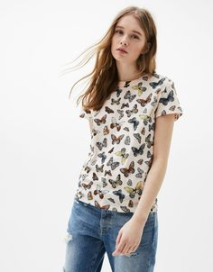 Printed cotton T-shirt. Discover this and many more items in Bershka with new products every week