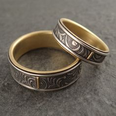 Wedding Ring Set  Floral Art Nouveau Vines by DownToTheWireDesigns, $525.00