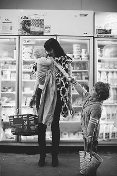 motherhood, photography, mother and child, baby, Supermarket, Family, Photographer, B&W
