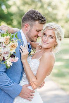 Bride and groom portaits, ohio wedding, Blue tux, floral gown Blue Tux, Floral Gown, Wedding Blue, Sans Serif, Natural Light, Ohio, Groom, Bride, Portrait