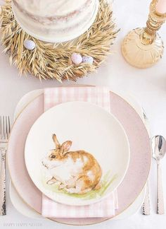 Setting a Simple Easter Table: Easy Decorating Ideas - Happy Happy Nester Easter Table Settings, Easter Table Decorations, Easter Decor, Easter Centerpiece, Thanksgiving Decorations, Easter Colors, Easter Celebration, Diy Centerpieces, Easter Party
