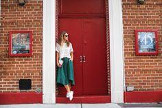 Green midi flowy skirt