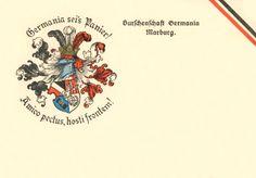 Couleurkarte der 1868 gegründeten Burschenschaft Germania in der DB an der Phillips-Universität zu Marburg an der Lahn (Hessen) #Studentika #Studentenverbindung #Korporation Playing Cards, Fraternity, Hessen, Postcards, Playing Card Games, Game Cards, Playing Card