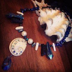 Custom Blue and white necklace I made for @mermaid_annika ⚓️#Merbella #Mermaid #Merbellastudios