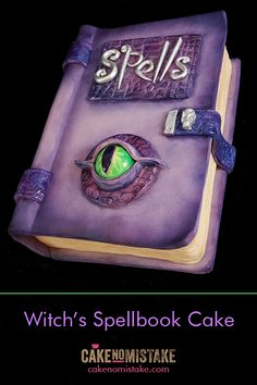 Spooky spellbook cake with dragon eye. Buttercream Fondant, Fondant Cakes, Cupcake Cakes, Halloween Sweets, Halloween Cakes, Halloween Fun, Dragon Birthday Parties, Birthday Cakes, Scary Cakes