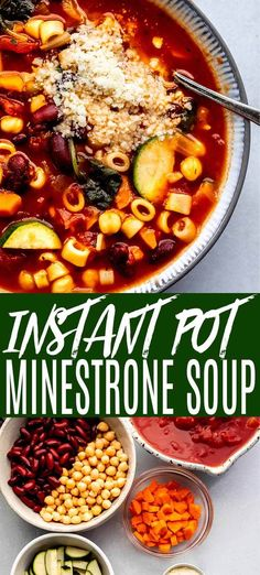 Instant Pot Minestrone Soup cooks in just 5 minutes! Loaded with veggies, beans, & pasta, then topped with lots parmesan cheese and fresh parsley. Best Instant Pot Recipe, Instant Pot Dinner Recipes, Vegetarian Recipes Instant Pot, One Pot Recipes, Oven Recipes, Meat Recipes, Pasta Recipes, Crockpot Recipes, Veggie Soup