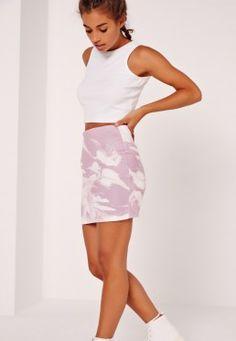 Petite Exclusive Marble Print Mini Skirt Pink