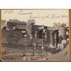 Carnac. Exterior of the Great Hall (Photograph)     Date: 1850s to 1870s (photographed)     Place: Karnak     Artist/maker: Francis Frith