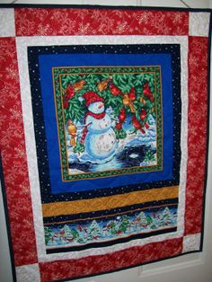 Snowman cardinal winter scene quilt wall by ExpressionQuilts, $26.00
