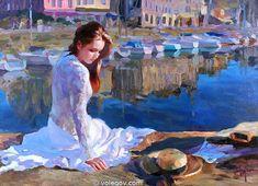 Gallery of artist Vladimir Volegov, portraits of very beautiful women. Painting People, Woman Painting, Figure Painting, Sun Painting, Dream Painting, Vladimir Volegov, Portrait Art, Portraits, Beautiful Paintings