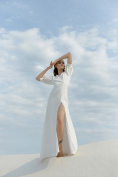 Modern Crepe Wedding Dress Romantic Wedding Dress Unique Wedding Dress Minimalist Ivory Wedding Dress Sexy Wedding Gown With Slit Sleeves Photography Poses Women, High Fashion Photography, Fashion Photography Inspiration, Photoshoot Inspiration, Dreamy Photography, Glamour Photography, Lifestyle Photography, Crepe Wedding Dress, Sexy Wedding Dresses