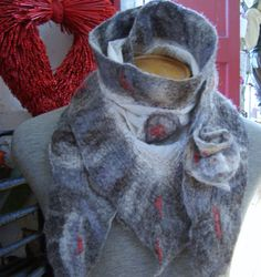 Grey Nuno felted scarf by Beautifulfelts on Etsy, $60.00