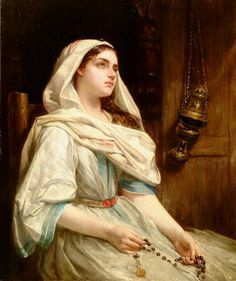Offering to the Virgin the Day After the Wedding ~ Jean-Eugène Buland -- Elmore, Alfred Woman Saying Rosary Catholic Catechism, Catholic Art, Catholic Saints, Roman Catholic, Religious Art, Pintura Colonial, Religion, Bride Of Christ, Blessed Virgin Mary