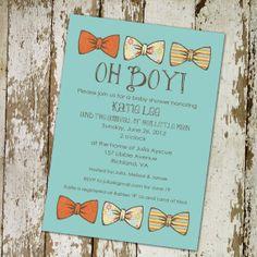 baby boy shower invitation with bow ties, little gentleman theme, digital