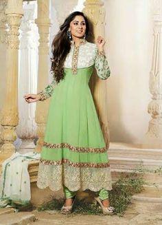 Pista Green Designer Georgette Anarkali with heavy work of Embroidery en-crafted on the top and the Bottom. Along with Matching Shantoon Bottom and Chiffon Duppatta.