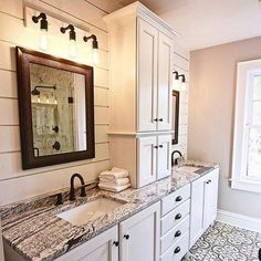 Bathroom Renos, Master Bathroom, Bathroom Designs, Bathroom Ideas, Farmhouse Cabinets, Master Bath Remodel, Rustic Bathrooms, Dream House Plans, Kids Bath