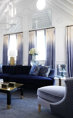 Winter Decorating. Stunning Living Room with a blue sofa and ombre drapes by New York City interior designer Timothy Whealon. 10 Interiors from 2016 Kips Bay Showhouse Designers, via @sarahsarna.