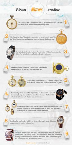 9 Amazing Watches in the World Infographic