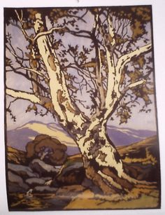 William S. Rice Woodcut Art, Lino Prints, Block Prints, Arts And Crafts Movement, Wood Engraving, Western Art, Woodblock Print, Types Of Art, Tree Art