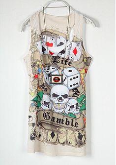 Vintage Punk Skull Printed Round Neck Short Sleeve T Shirt