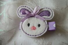 Boutique Embroidered Felt Purple Easter Bunny by pachwilliamson, $3.00