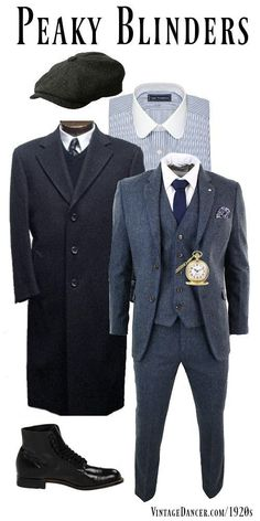 How to re-create a Peaky Blinders outfit with a tweed suit, round collar shirt, cap, overcoat, boots and pocket watch. Costume Peaky Blinders, Traje Peaky Blinders, Peaky Blinders Clothing, Peaky Blinders Style Suit, Peaky Blinders Fancy Dress, Mode Masculine, Mens Fashion Suits, Mens Suits, Great Gatsby Party Outfit