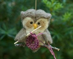 Needle Felted Owl Ornament  Crocheting by scratchcraft on Etsy, $24.00