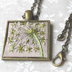 Queen Annes lace flower necklace hand embroidery in green and white on silk.  Another of my popular flower embroideries. This one started with