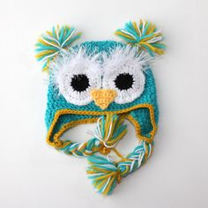 OWL BABY HAT  turquoise  size 618 months  by AleksandraNagrant