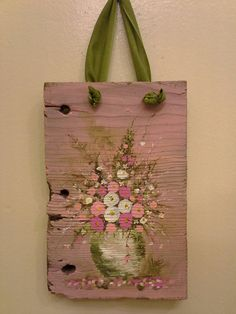 Original floral painting Pink & White on Reclaimed Wood Shabby Cottage Romantic Primitive Folk Art Wall hanging decor Wood Pallet Art, Reclaimed Wood Art, Cottage Art, Shabby Cottage, Craft Font, Slate Art, Wood Crafts, Diy Crafts, Painting On Wood